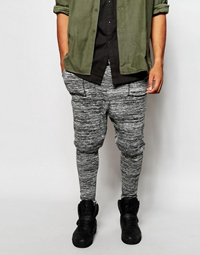 ASOS Drop Crotch Joggers In Lightweight Fabric In Marl