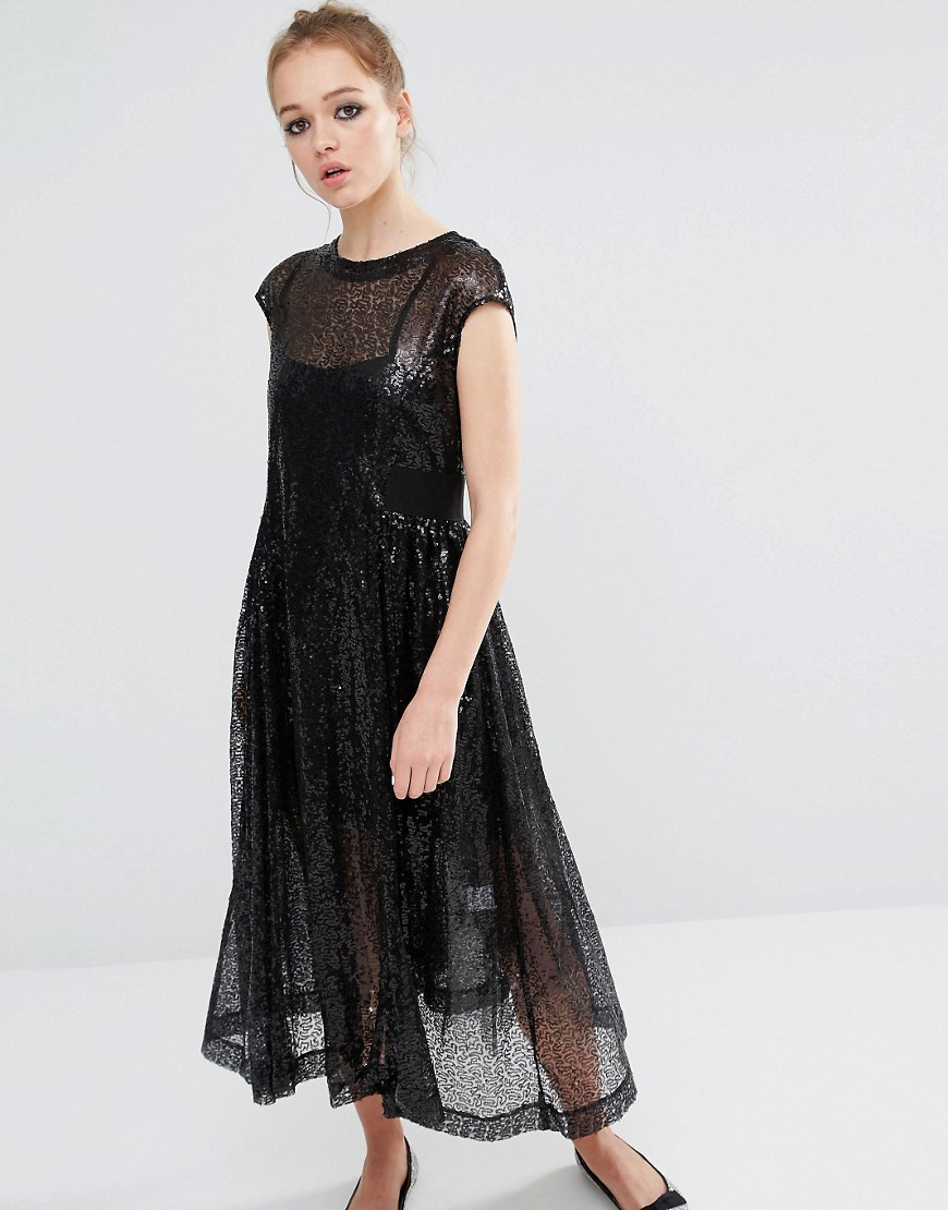 Sister Jane Sequin Smock Dress - Black