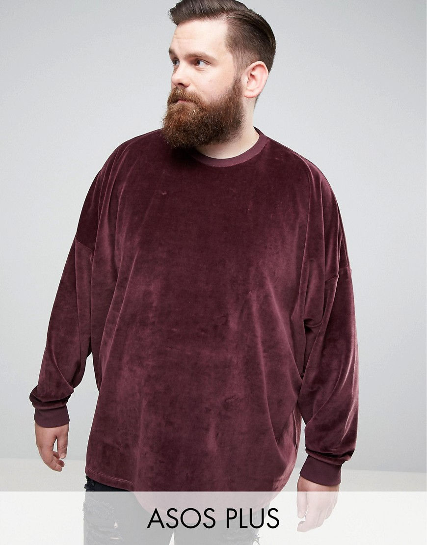 ASOS PLUS Extreme Oversized Sweatshirt In Velour - Red