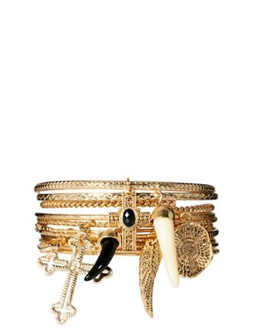 Image 1 ofRiver Island Hanging Charms Bangle Pack