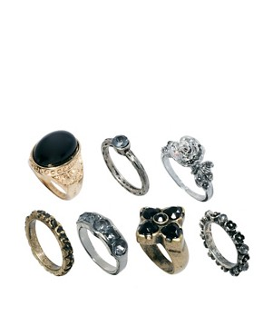 Image 1 ofASOS Mixed Opaque Stone Ring Pack