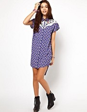 ASOS Shirt Dress In Habenera Print And Embroidered Yoke