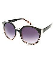 ASOS Round Sunglasses With Mixed Bridge Detail
