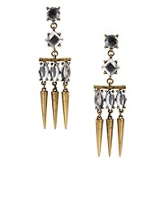 Mango Statement Crystal And Spike Earrings