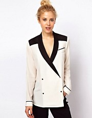 ASOS Blouse With Tuxedo Collar in Colourblock