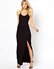 Love Maxi Dress With Thigh Split and Cross Back