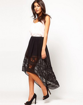 Image 1 ofASOS Lace Skirt with Hi Lo Hem