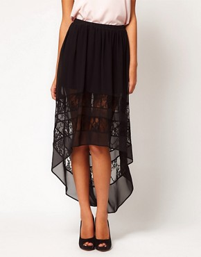 Image 4 ofASOS Lace Skirt with Hi Lo Hem