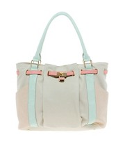 Bolso tote con cerradura en colour block Western de Oasis