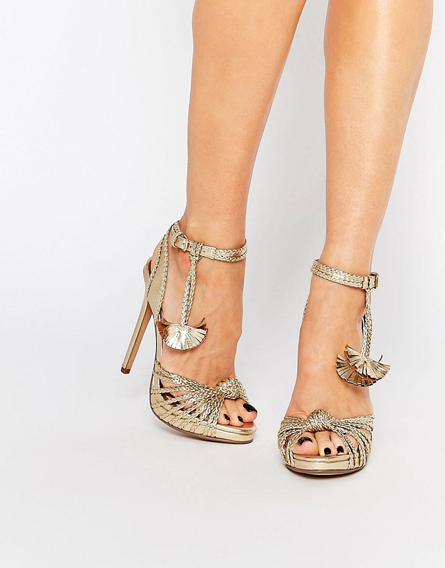 Image 1 of KG By Kurt Geiger Hoax Gold Braid Heeled Sandals