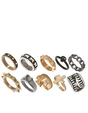 Image 1 of ASOS Skull Fangs Mega Ring Pack