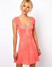Free People Knitted Swing Dress in Neon Coral
