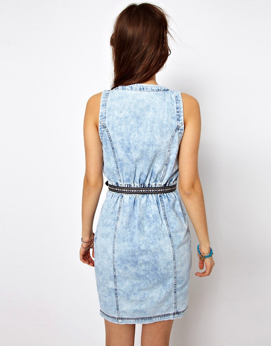 Image 2 of River Island Denim Dress With Button Through Detail
