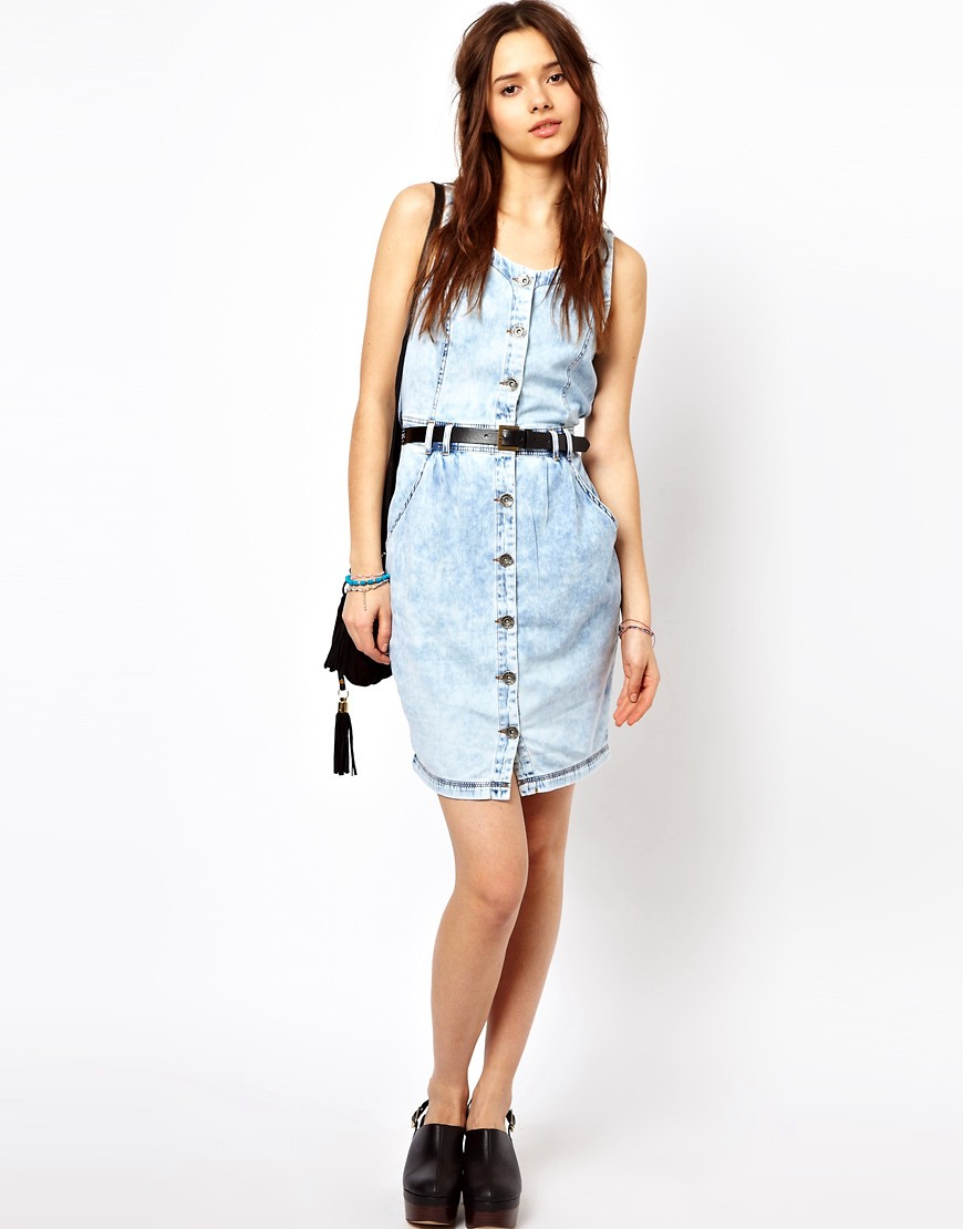 Image 4 of River Island Denim Dress With Button Through Detail