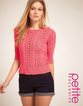 Image 1 ofASOS PETITE Exclusive Cable Jumper