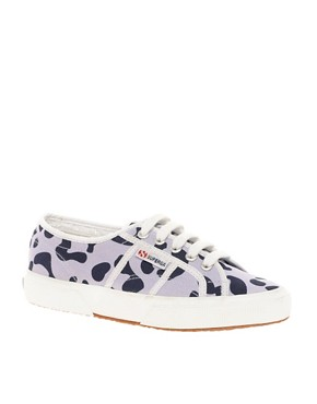 Image 1 ofSuperga House of Holland Collaboration Lilac Leopard Plimsolls