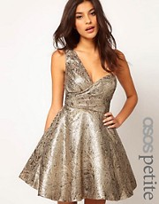 ASOS PETITE Exclusive One Shoulder Dress In Metallic Jacquard