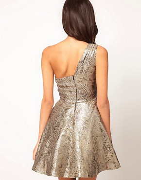Image 2 of ASOS PETITE Exclusive One Shoulder Dress In Metallic Jacquard