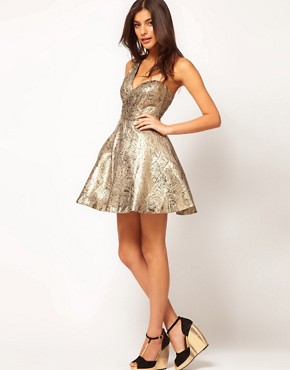 Image 4 of ASOS PETITE Exclusive One Shoulder Dress In Metallic Jacquard