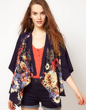 Image 1 ofA Wear Bouquet Print Kimono Jacket