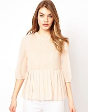 Ted Baker Pleated Blouse with Soft Peplum Detail