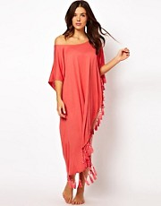 MinkPink One Shoulder Tassel Beach Kaftan