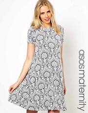 ASOS Maternity Swing Dress in New Baroque Print