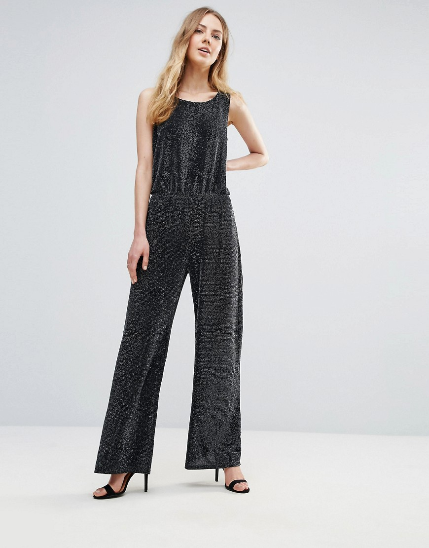 Ichi Wide Leg Jumpsuit - Black