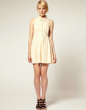Image 4 ofASOS PETITE Shirt Dress with Broderie Trim