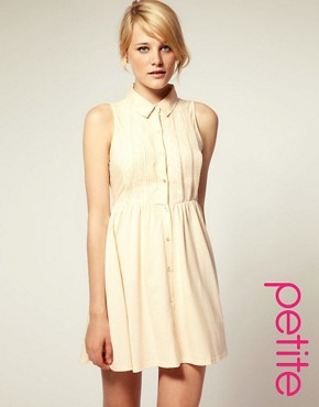 Image 1 ofASOS PETITE Shirt Dress with Broderie Trim