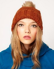 ASOS Faux Fur Pom Boyfriend Beanie
