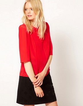 Image 1 ofBoutique by Jaeger Clara Silk Blouse with Pleat Front