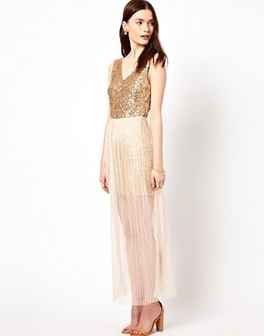 Image 1 ofAryn K Maxi Dress With Sequin Bodice And Mesh Skirt