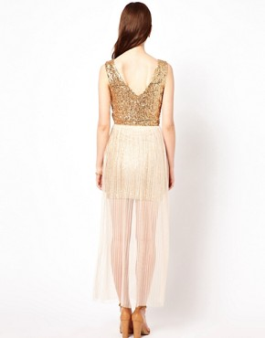 Image 2 ofAryn K Maxi Dress With Sequin Bodice And Mesh Skirt