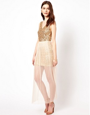Image 4 ofAryn K Maxi Dress With Sequin Bodice And Mesh Skirt