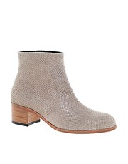 H by Hudson Plath Grey Heeled Ankle Boots