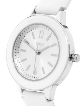 Image 4 ofOasis Enamel Watch with Leather Strap and Round Case
