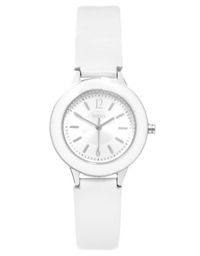 Image 1 ofOasis Enamel Watch with Leather Strap and Round Case