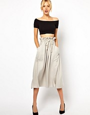ASOS Midi Skirt with Tie Waist