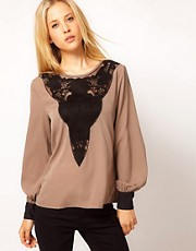 ASOS Blouse With Lace Yoke Insert