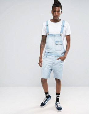 ASOS Denim Dungarees In Bleach Wash