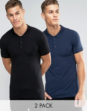 ASOS Extreme Muscle Jersey Polo 2 Pack in Navy and Black SAVE 15%
