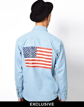 Image 1 ofReclaimed Vintage Denim Shirt with American Flag Back Panel