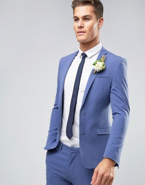 ASOS WEDDING Super Skinny Suit Jacket In Deep Blue