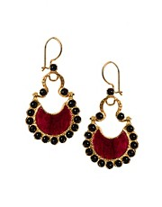 Ottoman Hands Surround Crescent Earrings