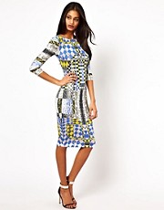 ASOS Body-Conscious Snake And Check Print Dress