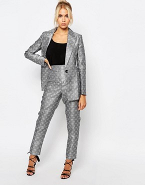 Fashion Union Suit Trousers In Tile Print Co-Ord