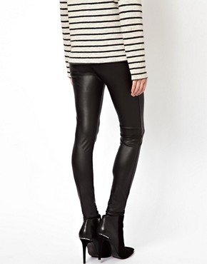 Image 2 ofASOS PETITE Leggings In Leather Look