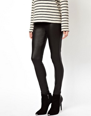 Image 4 ofASOS PETITE Leggings In Leather Look