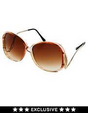 Gafas de sol vintage extragrandes en naranja transparente de Jeepers Peepers
